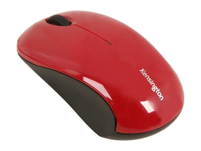 Kensington Mouse for Life Wireless Three-Button Mouse K72411US Red 3 Buttons 1 x Wheel USB RF Wireless Optical 1000 dpi Mouse