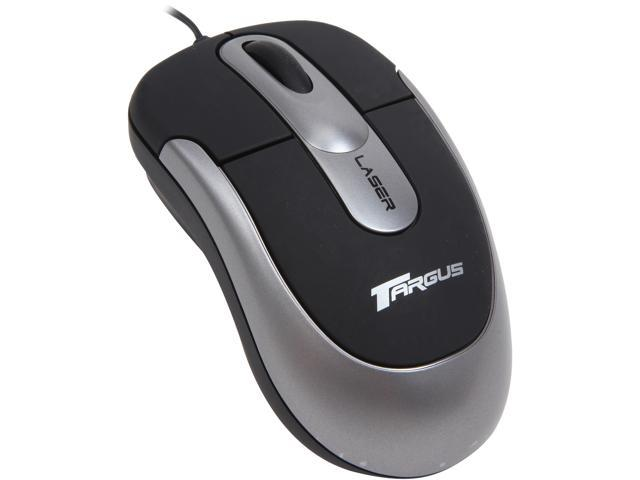 Targus Notebook Retractable AMU18US Silver/Black 3 Buttons 1 x Wheel USB Wired Laser Mouse Manufacturer Recertified