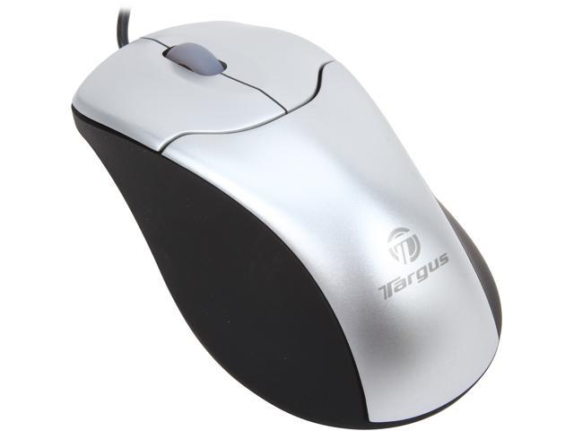 Targus AMU10USZ Black/Silver 3 Buttons 1 x Wheel USB Wired Optical Mouse Manufacturer Recertified