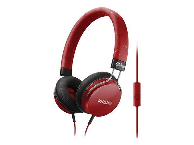 PHILIPS Red SHL5305RD/28 3.5mm Connector FIXIE Stereo Headphone W/ Mic