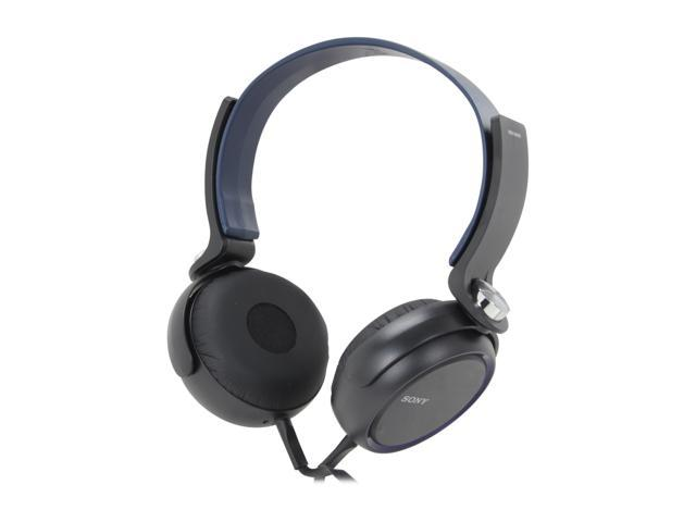 SONY XB Series Blue MDRXB400/BLU Gold-plated L-shaped stereo mini Connector Supra-aural Extra Bass Headphones
