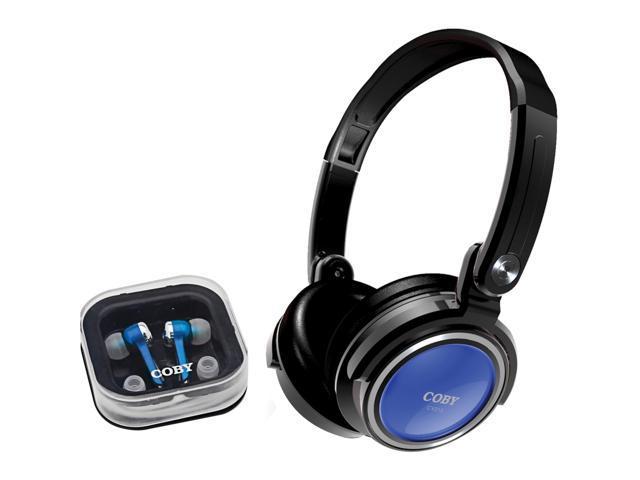 COBY CV215 3.5mm Connector Headphones: Circumaural / Earphones: Canal 2 in 1 Combo Deep Bass Stereo Headphone & Earphone