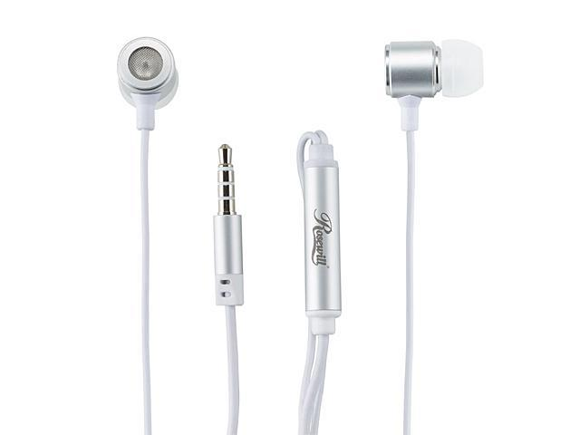 Rosewill E-210-WH White Passive Noise Isolating Earbuds with Mic & Control Button for Smartphones, 3.5mm Connector -Retail