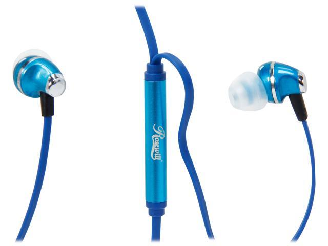 Rosewill E-360-BLE Blue Passive Noise Isolating Earbuds with Mic & Multi-function Control Button for Smartphones, 3.5mm Connector –