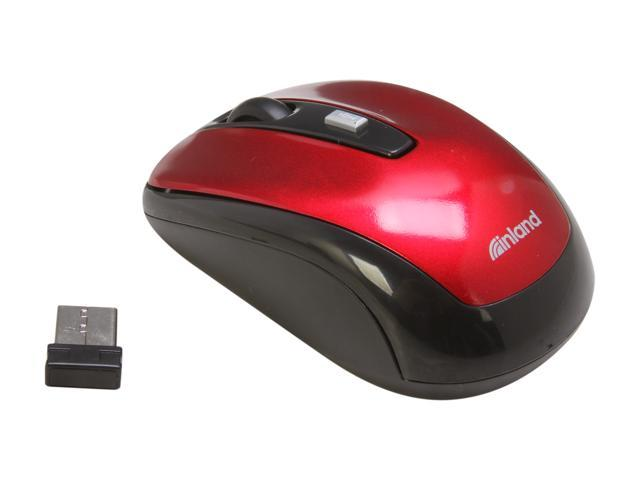 inland 7444 Red 4 Buttons 1 x Wheel USB RF Wireless Optical 1600 dpi Mouse