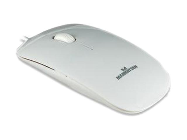 Manhattan 177627 White 3 Buttons 1 x Wheel USB Wired Optical 1000 dpi Silhouette Mouse