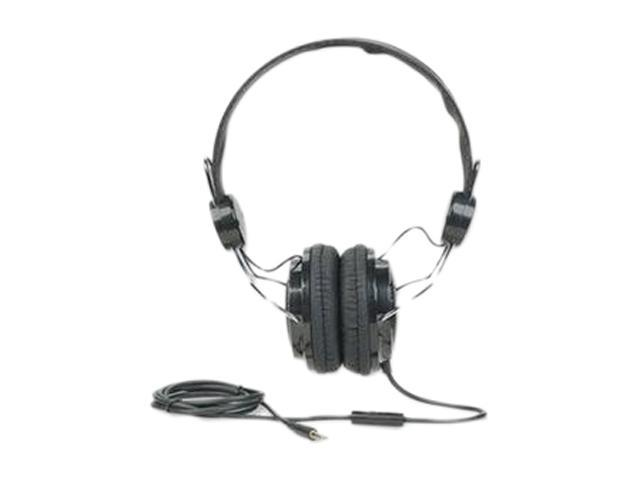 MANHATTAN Black/Silver 178044 3.5mm Connector Circumaural Elite Stereo Headphone/Headset