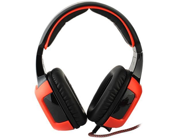 SADES SA-906 USB Connector Circumaural PC Gaming Headset w/ Microphone + Volume Control - Red/Black