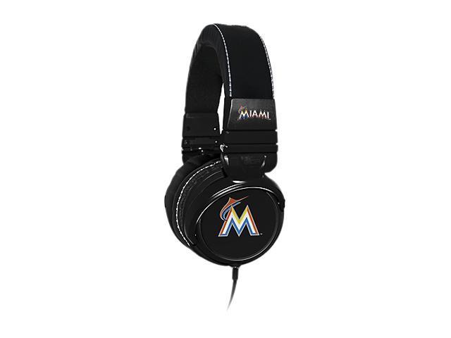 BiGR Audio XLMLBMM1 3.5mm Connector Over-Ear Miami Marlins Headphones with In-Line Mic