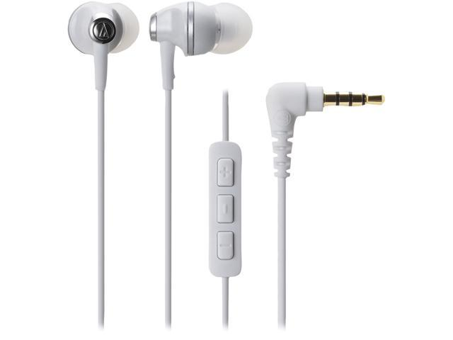 Audio-Technica White ATH-CK323IWH 3.5mm Connector In-ear Communication Earbuds With Remote & Microphone