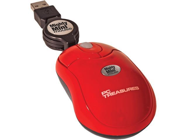 PC Treasures Retractable Mighty Mini Mouse 07217 Red 3 Buttons 1 x Wheel USB Wired 800 dpi Mouse