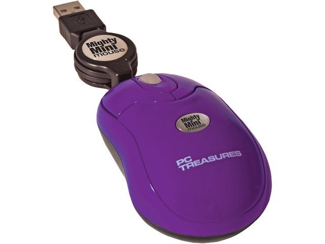 PC Treasures Retractable Mighty Mini Mouse 07220 Purple 3 Buttons 1 x Wheel USB Wired 800 dpi Mouse