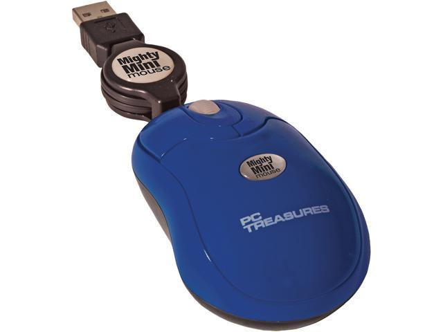 PC Treasures Retractable Mighty Mini Mouse 07221 Navy blue 3 Buttons 1 x Wheel USB Wired 800 dpi Mouse