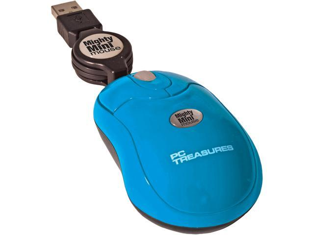 PC Treasures Retractable Mighty Mini Mouse 07222 Ice Blue 3 Buttons 1 x Wheel USB Wired 800 dpi Mouse