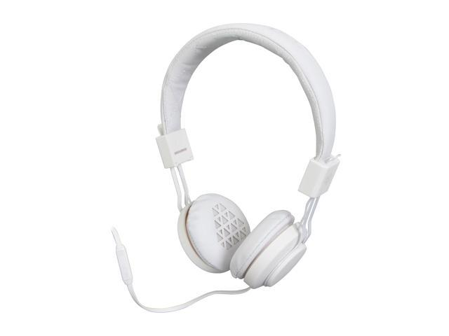 JLAB White INTRO-WHT-BOX 3.5mm Connector Intro Rubberized Headphones with Mic -