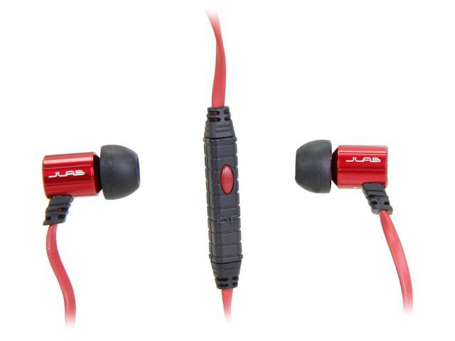 JLAB Black/Red J4M-BLKRED-FFP 3.5mm Connector JBuds J4M Rugged Metal In-Ear Earbuds Style Headphones with Mic and Travel Case