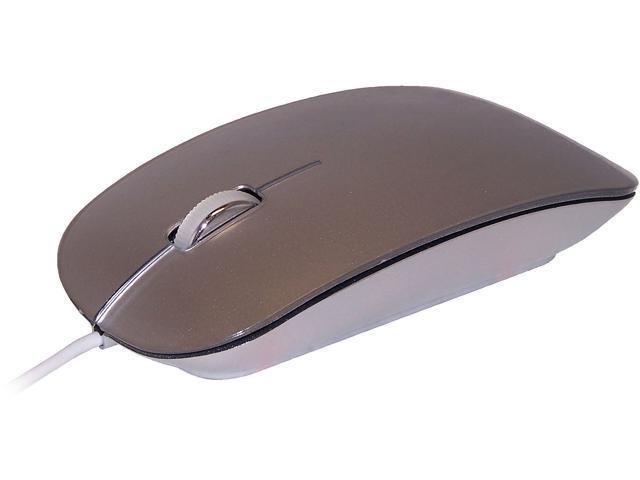 ROCKSOUL MS101007S Silver USB Wired Optical Mouse for Mac or PC White