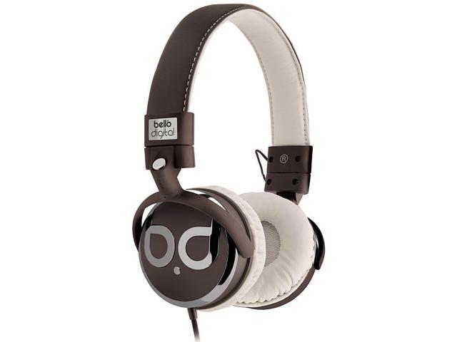 BellO Brown/Tan & Dark Chrome Color BDH821BRTA 3.5mm Connector Circumaural Over-the-Head Headphones with Track Control and Microphone