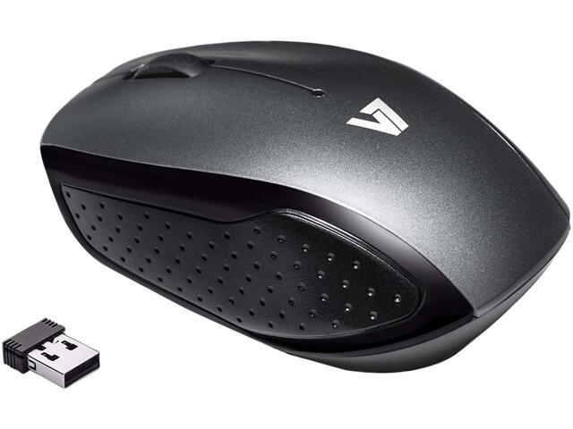 V7 Wireless Mobile Optical LED Mouse MV3050200-8NB Black/Gray 3 Buttons 1 x Wheel USB RF Wireless Optical 1600 dpi Mouse