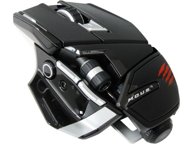 Mad Catz M.O.U.S. 9 MCB4371500C2/04/1 Gloss Black 10 Buttons 1 x Wheel USB Bluetooth Wireless Laser Mouse