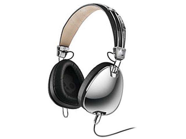 Skullcandy Chrome/ Black S6AVDM-016 3.5mm Connector Binaural Aviator White Headphones w/Mic3, Chrome/ Black
