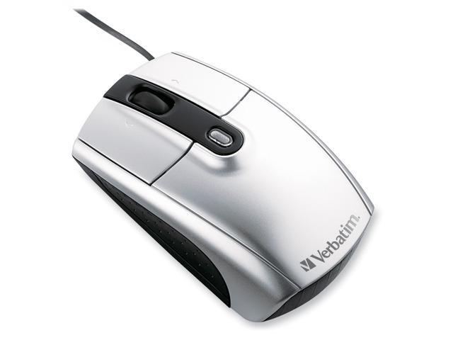 Verbatim 96673 Silver Tilt Wheel USB Wired Laser 1600 dpi Notebook Mouse