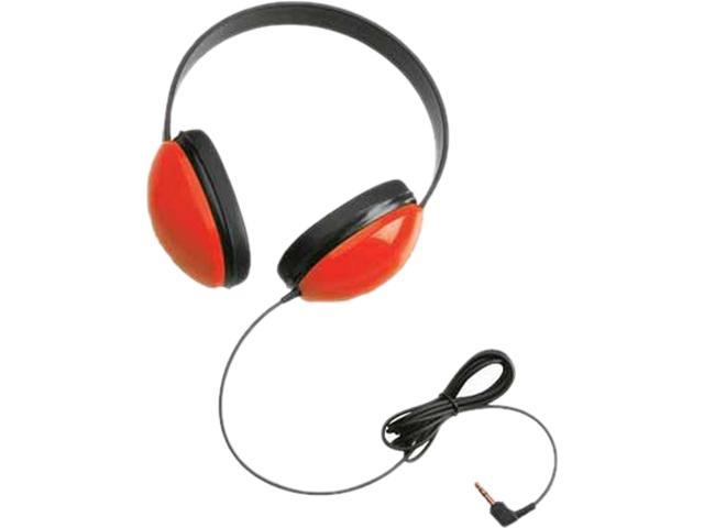 Califone 2800-RD Right angle 3.5mm mini plug Connector Supra-aural Listening First Stereo Headphones, Red