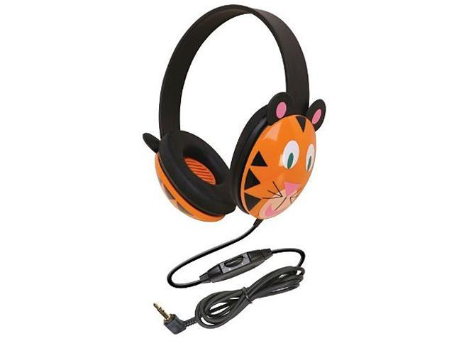 Califone 2810-TI Right angle 3.5mm mini plug Connector Circumaural Listening First Stereo Headphone, Tiger Design