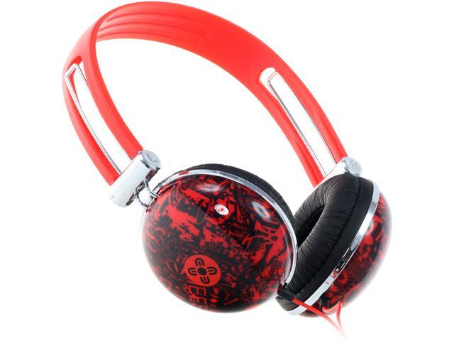 Moki Red ACCHPDRD 3.5mm Connector Dome Headphones - Red