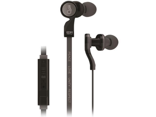 MEElectronics EDM Universe In-Ear Headphones with Headset Functionality and Universal Volume Control (PLUR/Black)