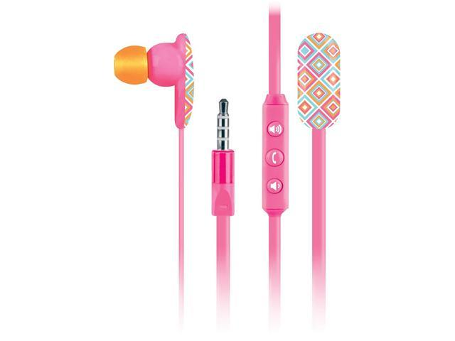 Macbeth Collection Pink MB-EM200-HAB 3.5mm Connector Earbud Oval Earbuds with Mic - Tory Boardwalk