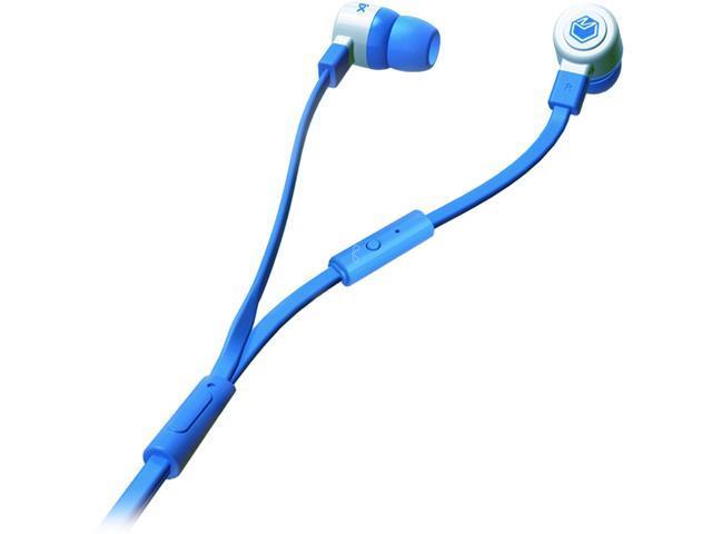 MQbix Blue MQGT26BLU-L 3.5mm Connector Talking AeroFones Flat Cable Earphones with Mic