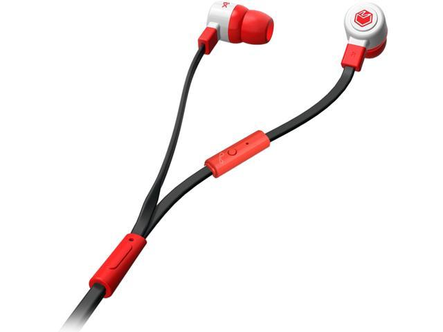 MQbix Red MQGT26RED-L 3.5mm Connector Talking AeroFones Flat Cable Earphones with Mic