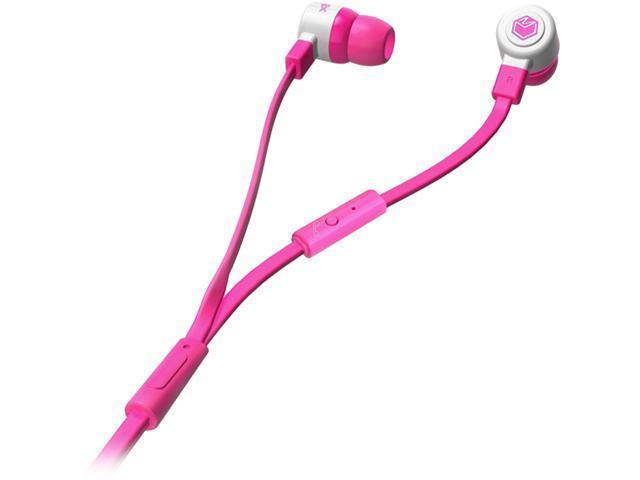 MQbix Pink MQGT26PNK-L 3.5mm Connector Talking AeroFones Flat Cable Earphones with Mic