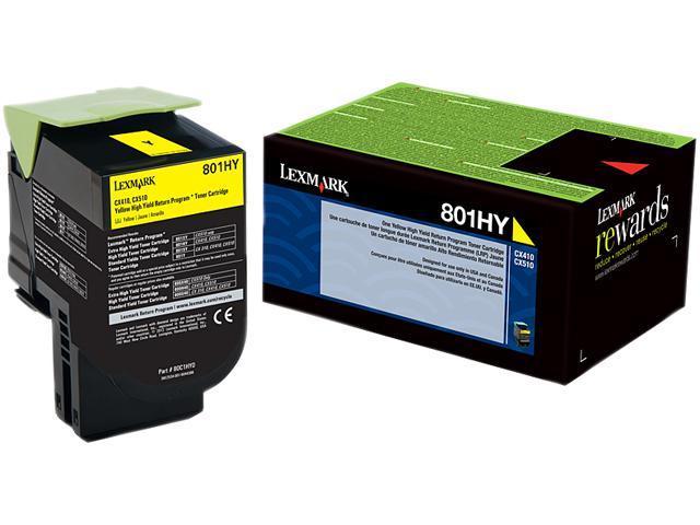 Lexmark 80C1HY0 801HY High Yield Toner Cartridge; Yellow (Return Program)