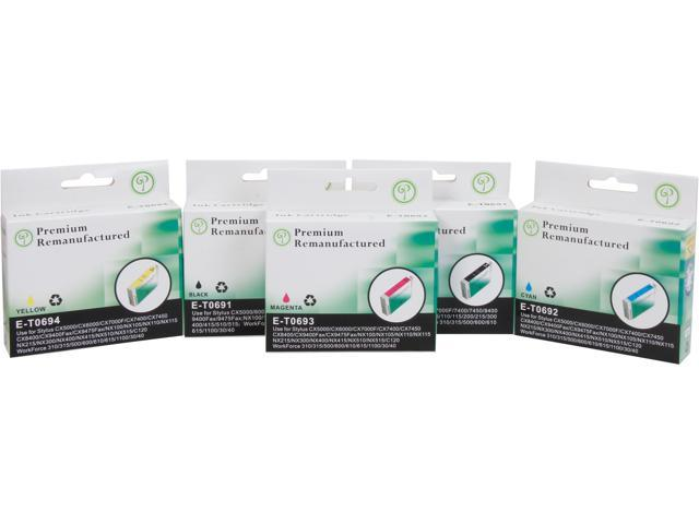 Green Project Compatible Ink Cartridge Replacement for Epson (2pc T0691 , 1pc T0692 , 1pc T0693 , 1pc T0694) 5 Pack