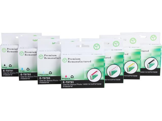Green Project Compatible Ink Cartridge Replacement for Epson (2 pc. T0791 , 1pc. T0792 , 1pc. T0793 , 1pc. T0794 , 1pc. T0795 , 1pc. ...