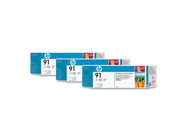 HP 91 3-Pack 775ml Pigment Ink Cartridge For HP Designjet Z6100 Printer series, Light Gray (C9482A)