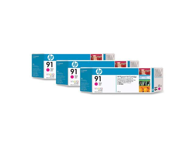 HP 91 3-Pack 775ml Pigment Ink Cartridge For HP Designjet Z6100 Printer series, Magenta (C9484A)
