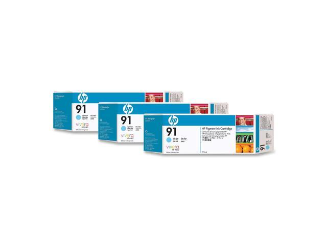 HP 91 3-Pack 775ml Pigment Ink Cartridge For HP Designjet Z6100 Printer series, Light Cyan (C9486A)