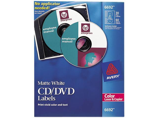 Avery Matte White CD Labels for Color Laser Printers and Copiers 6692, 30 Disc Labels and 60 Spine Labels