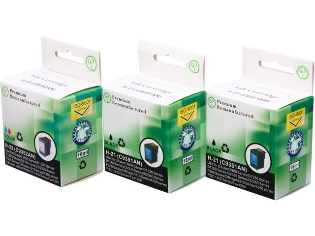 Green Project Compatible Ink Cartridge Replacement for HP- 2pc. HP 21 (C9351AN) , 1pc. HP 22 (C9352AN) - 3 Pack