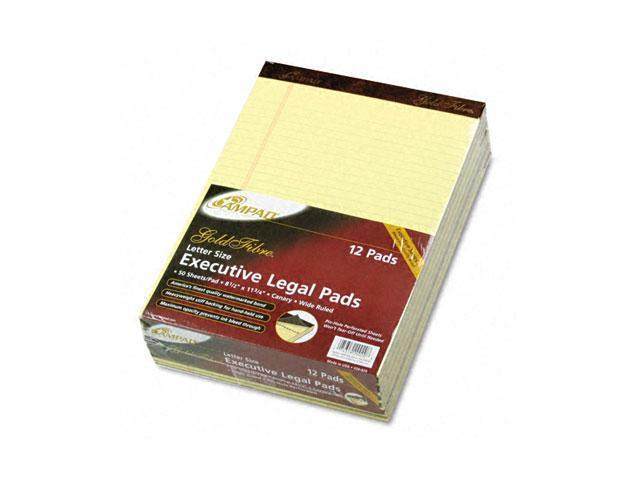 Ampad 20-020 Gold Fibre Ruled Pad, Legal/Wide Rule, Ltr, Canary, 50-Sheet Pads/Pack, Dozen