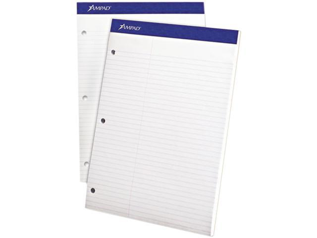 Ampad Evidence Dual Ruled Pad, Law Rule, 8-1/2 x 11-3/4, White, 100 Sheets