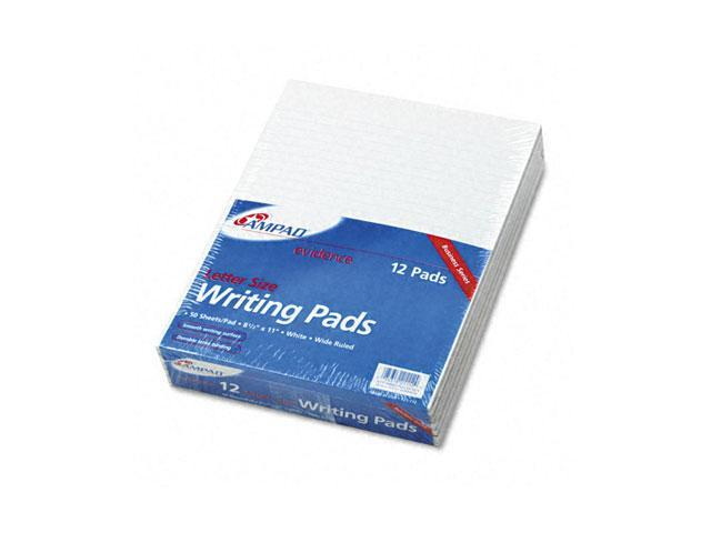 Ampad 21-112 Evidence Glue Top Ruled Pads, Wide Rule, Ltr, White, 50-Sheet Pads/Pack, Dozen