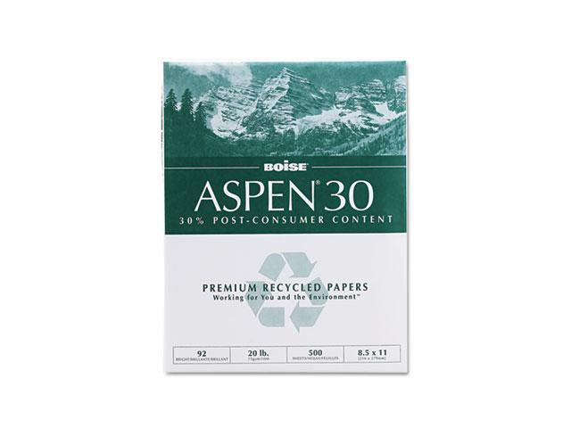 Boise 054901 ASPEN 30% Recycled Office Paper,92 Bright, 20lb, 8-1/2 x 11, White, 5000/Carton