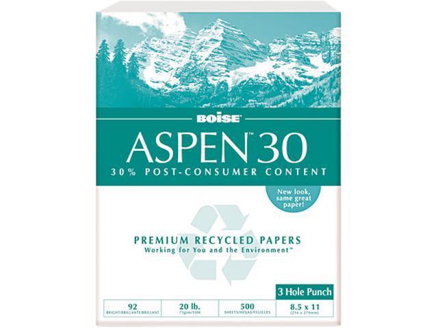 Boise 054901-P ASPEN 30% Recycled Office Paper, 3-Hole, 92 Bright, 20lb, Ltr, White, 5000/Ctn