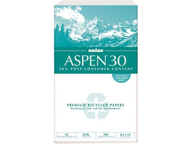 Boise 054904 ASPEN 30% Recycled Office Paper, 92 Bright, 20lb, 8-1/2 x 14, 5000/Carton