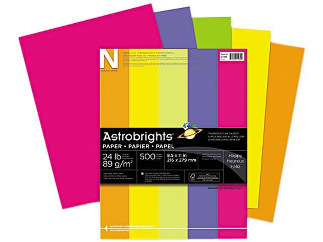 Wausau Paper 21289 Astrobrights Colored Paper, 24lb, 8-1/2 x 11, Assorted, 500 Sheets/Ream