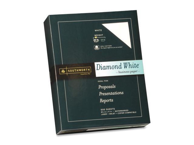 Southworth 25% Cotton Diamond White Business Paper, 20 lbs., 8-1/2 x 11, 500/Box